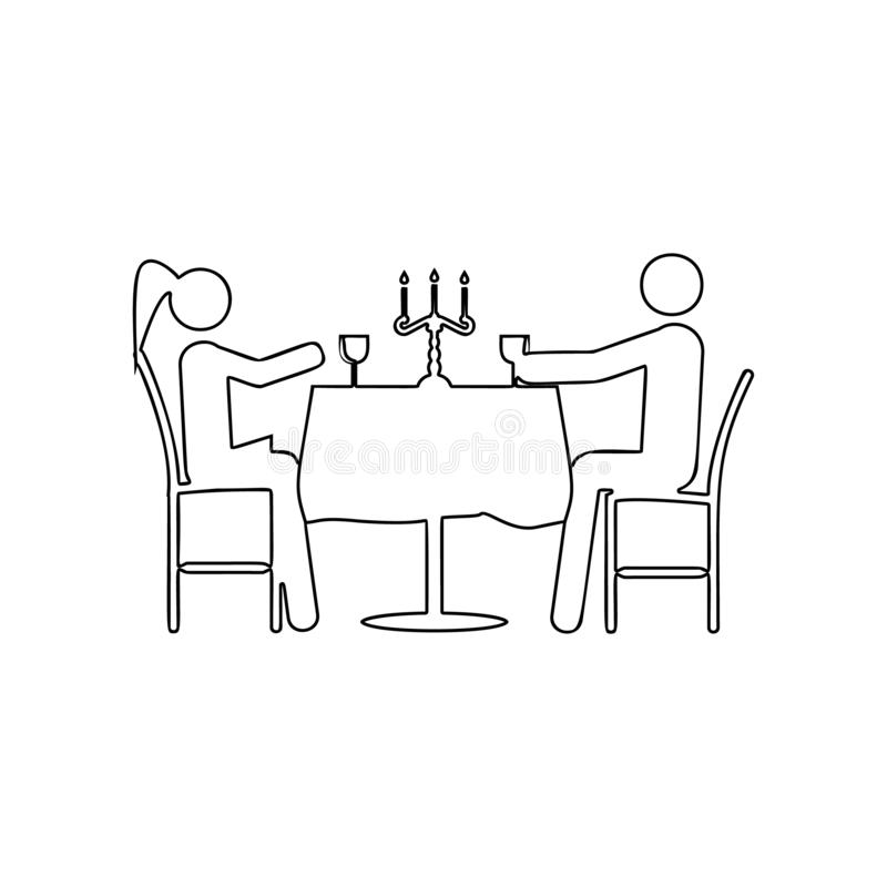Romantic dinner for two icon. Element of Love for mobile concept and web apps icon. Outline, thin line icon for website design and stock illustration