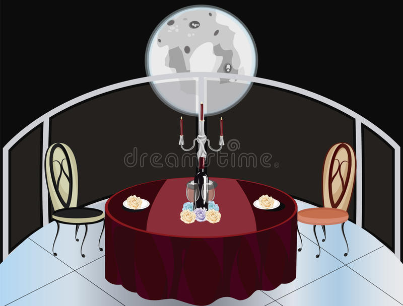 Romantic dinner under the moon royalty free stock photography
