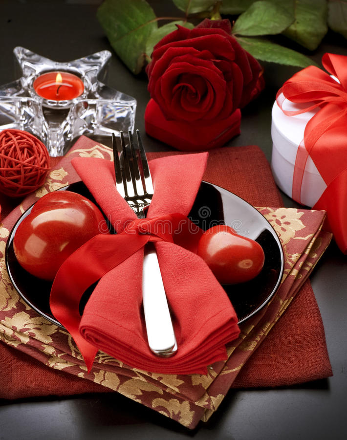 Romantic Dinner. Valentines Day. Romantic Dinner. Place setting for Valentines Day stock photos