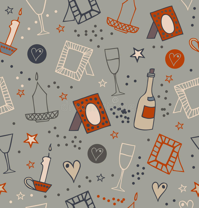 Romantic doodle seamless background with photo frames, candles, hearts, stars, goblets and bottles of vine. Endless hand drawn lac. Romantic doodle seamless stock illustration