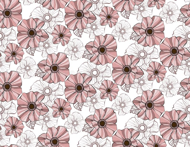 Romantic dusty pink flowers in a vector seamless pattern repeat royalty free illustration