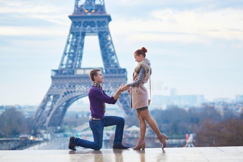 Romantic engagement in Paris royalty free stock photos