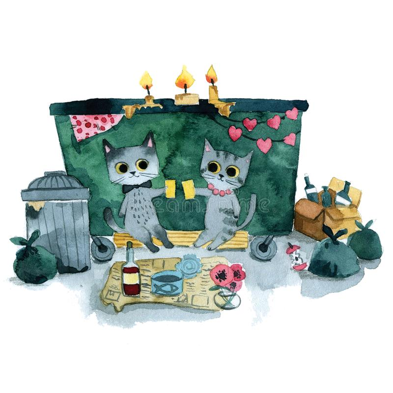 Two gray cats romantic date stock illustration
