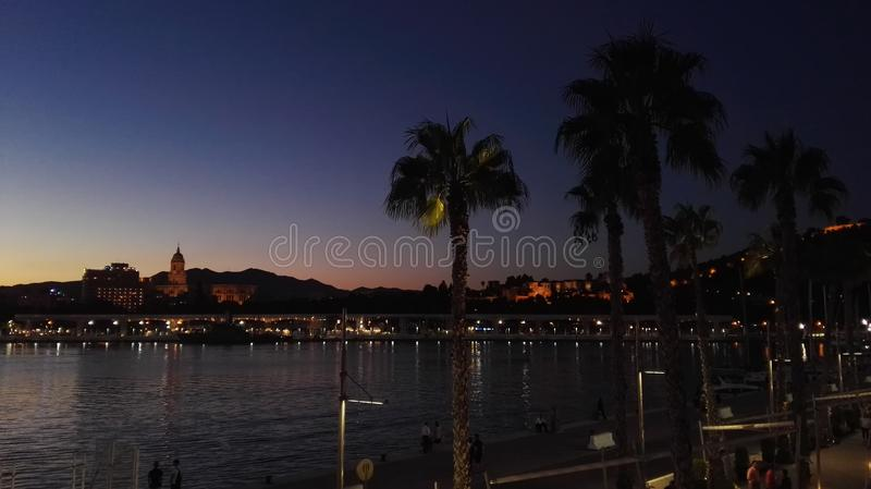 Romantic evening in Malaga stock photos