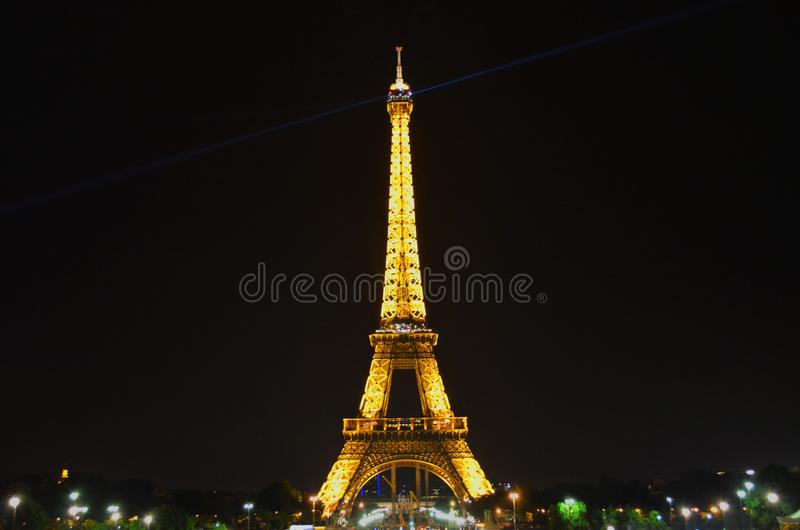 Romantic evening overlooking illuminated eiffel tower royalty free stock photo