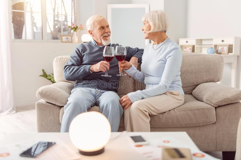 Happy elderly couple drinking wine on couch. Romantic evening. Pleasant elderly couple sitting on the couch and drinking wine during the celebration of their stock image