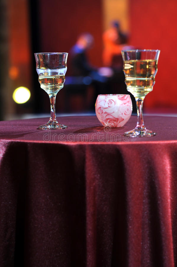 Romantic evening in restaurant. With wine - Happy New Year royalty free stock photography