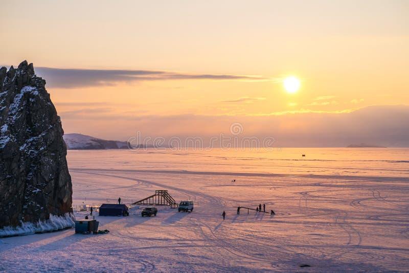 Romantic Evening twilight at frozen lake Baikal. royalty free stock image