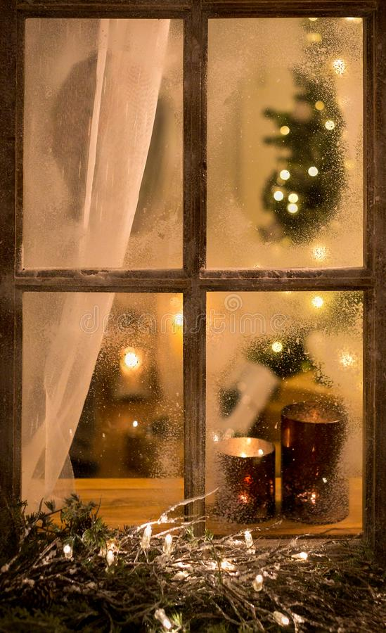 Free Romantic Evening Winter Scene With Old Window Stock Image - 142313821