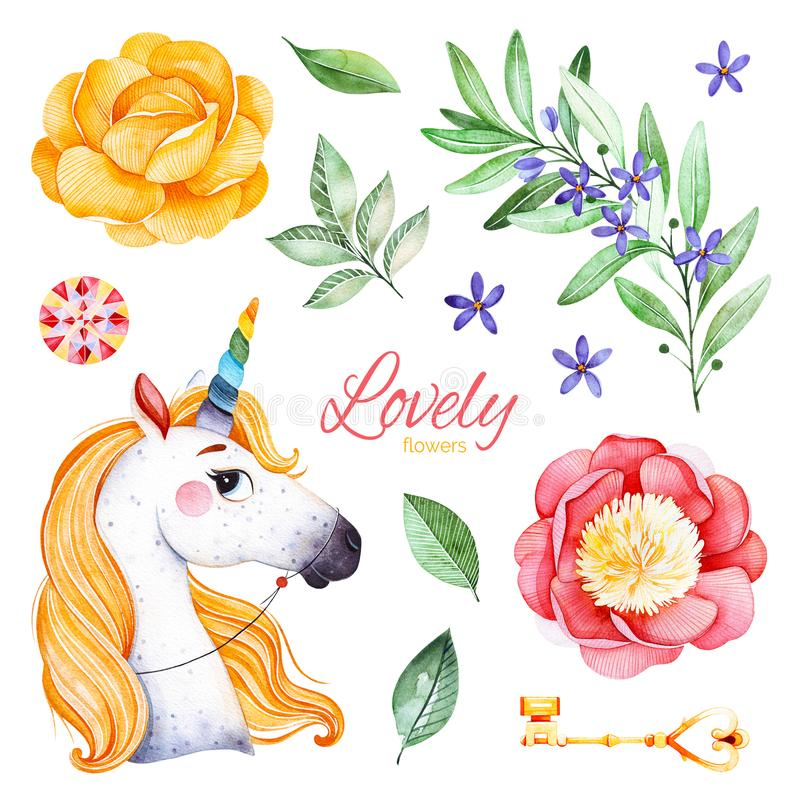 Romantic fairy tale set with peonies, flowers,flowering branch,gemstone,cute unicorn,golden key and leaves. royalty free illustration