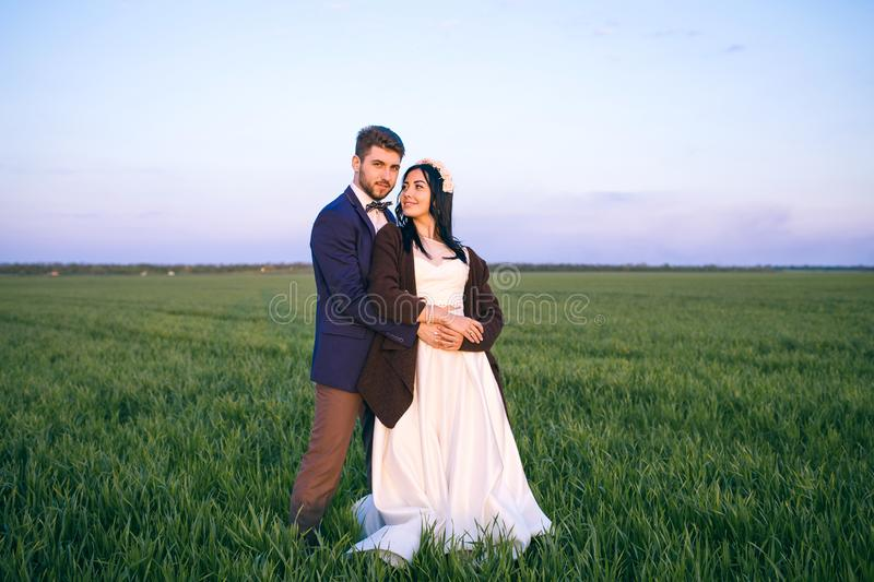 Romantic feelings in the field at sunset, the groom looks at the bride, the girl loves his boyfriend royalty free stock photography
