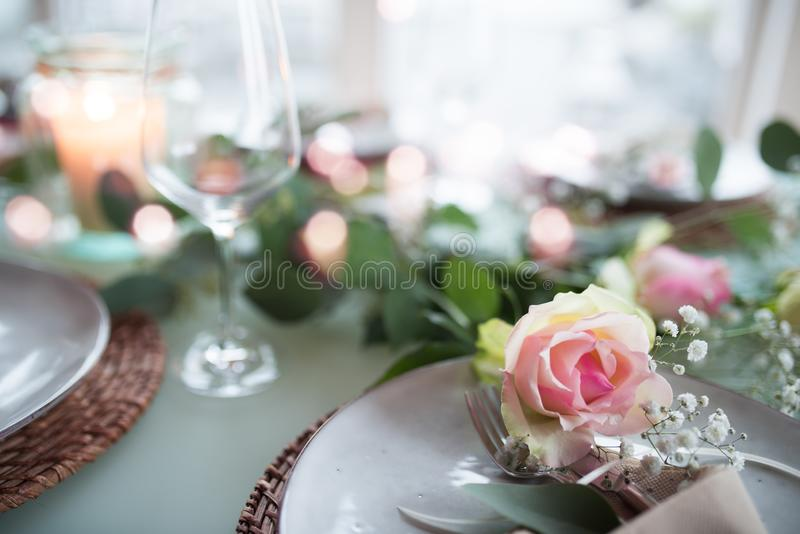 Romantic festive table decoration royalty free stock photos