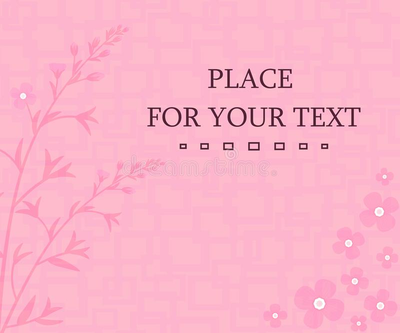Romantic floral background. Elegant design element template with place for your text. Decoration for birthday cards, wedding invitations vector illustration