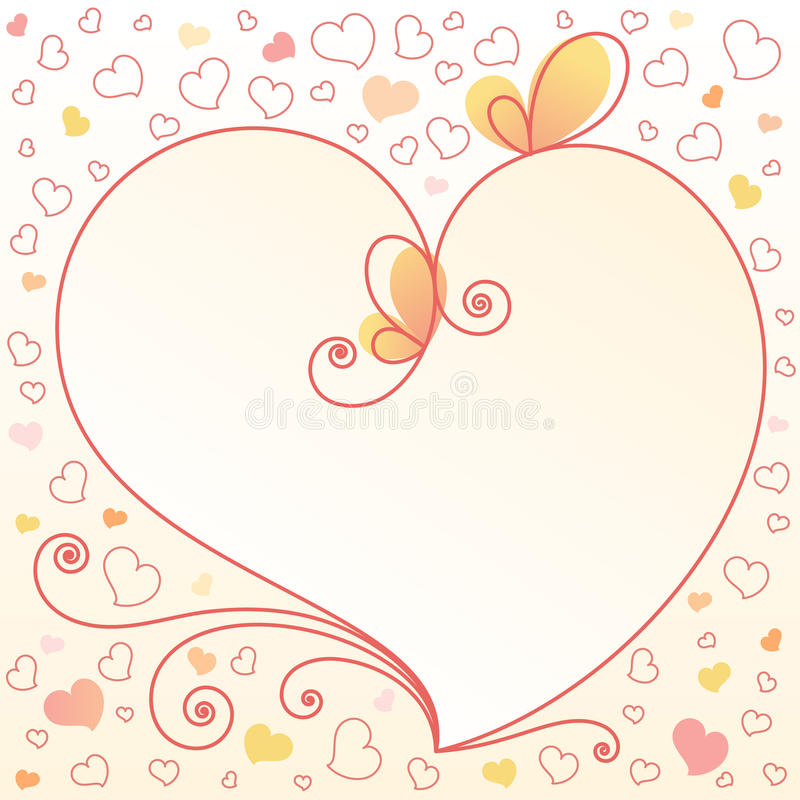 Romantic Floral Background With Heart Stock Images