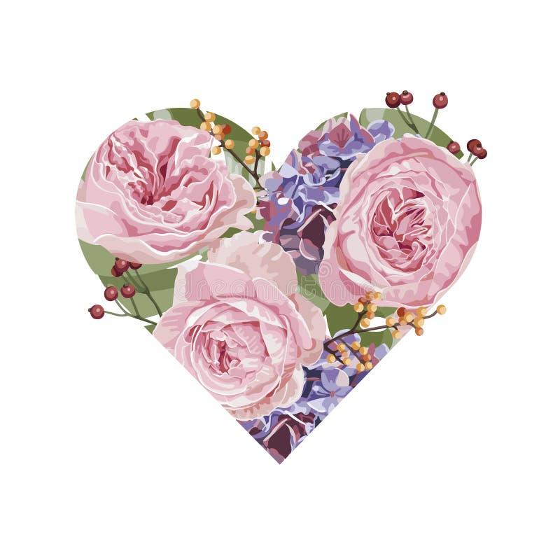 Romantic floral invitation card, flowers heart pattern. And illustration vector illustration