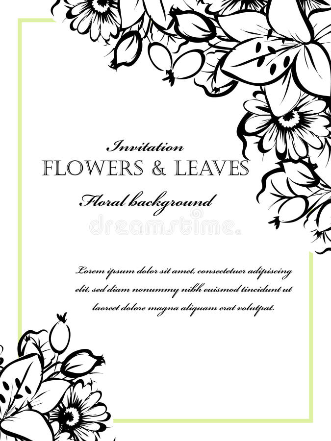 Romantic floral invitation stock photo