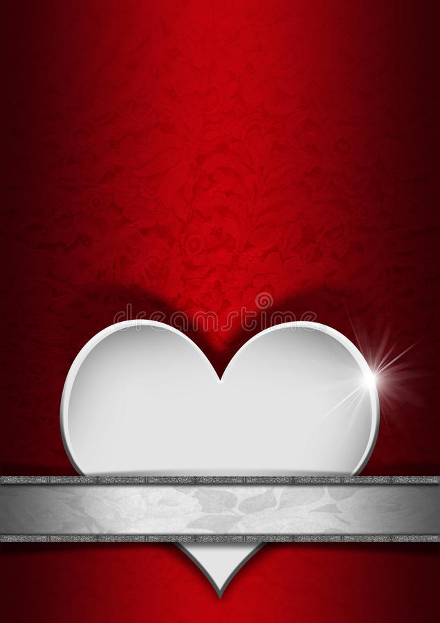 romantic floral red and silver background stock photo
