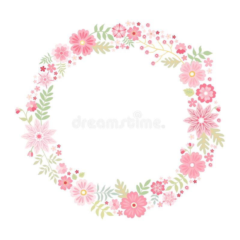 Romantic floral round frame with cute pink flowers. Beautiful wreath isolated on white background. Vector template stock illustration
