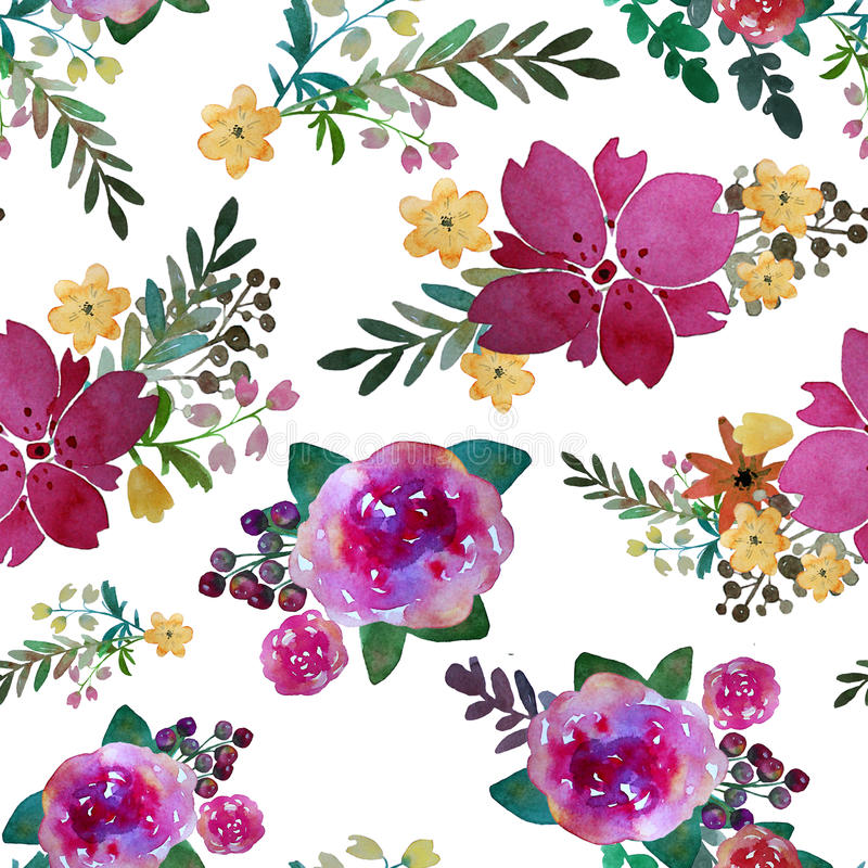 Romantic floral seamless pattern with rose flowers and leaf. Print for textile wallpaper endless. Hand-drawn watercolor. Elements. Beauty bouquets. Pink, red stock illustration