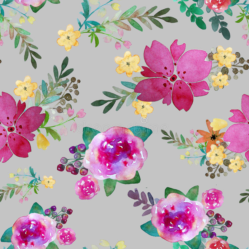 Romantic floral seamless pattern with rose flowers and leaf. Print for textile wallpaper endless. Hand-drawn watercolor. Elements. Beauty bouquets. Pink, red vector illustration