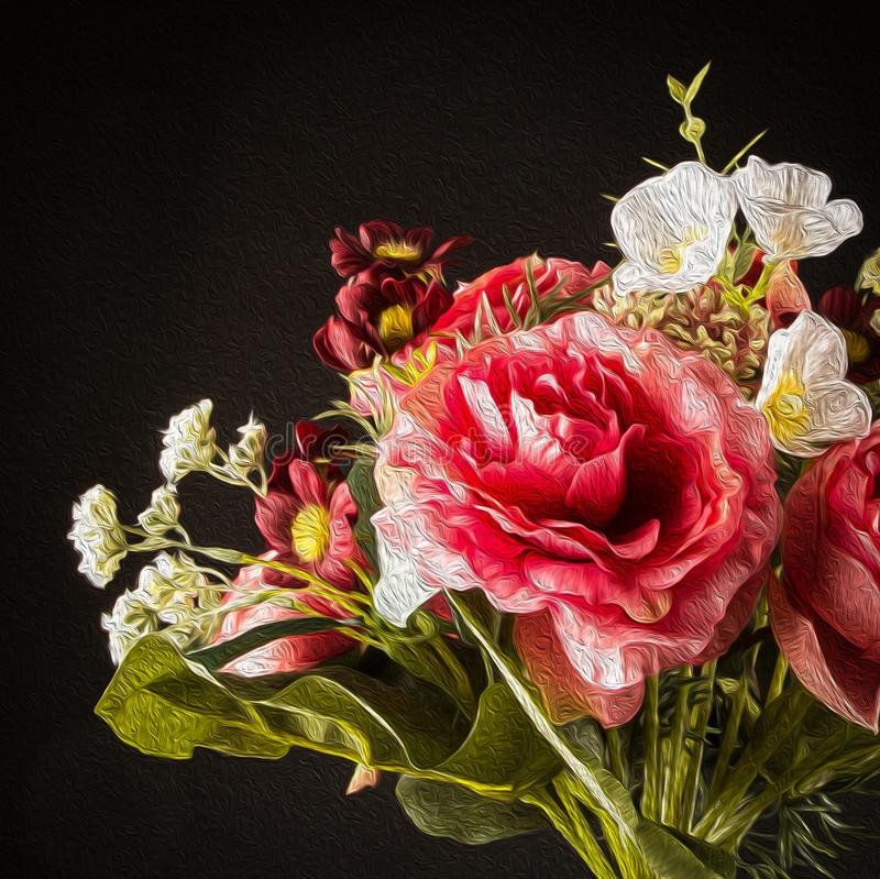 Romantic Flowers Bouquet close up isolated on black background, photo to oil painting effect stock images