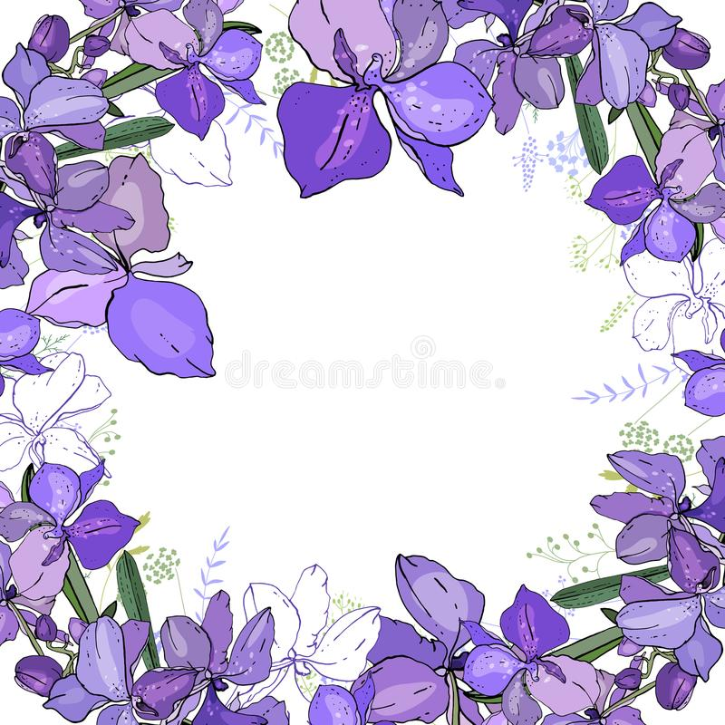 Romantic frame with orchids. Blank square template royalty free illustration
