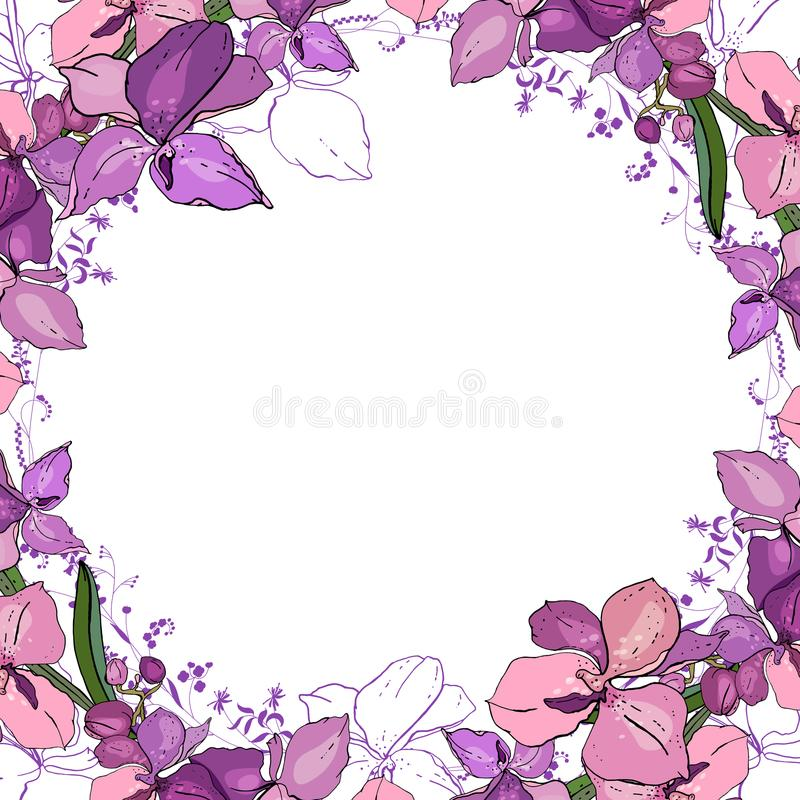 Romantic frame with orchids. Blank square template vector illustration