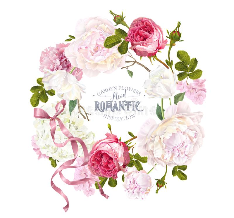 Romantic garden wreath royalty free illustration
