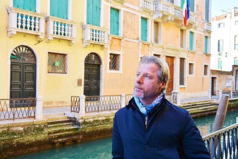 Romantic gaze and tourist in venice, Italy stock photography