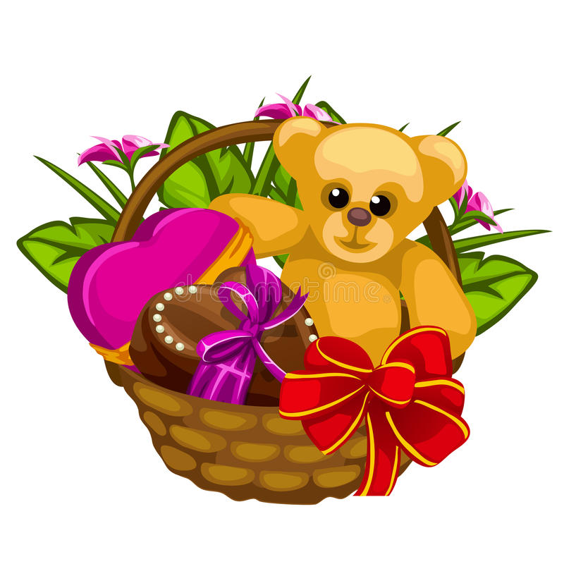 Romantic gift basket with sweets and a toys vector illustration