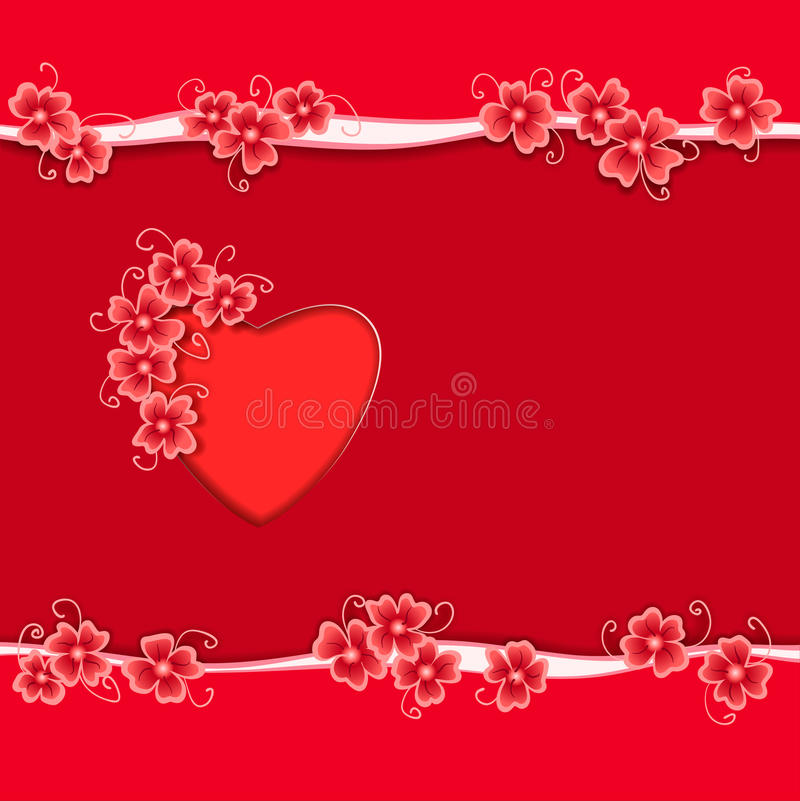 Romantic Gift Card With Red Heart And Abstract Flower Frame Stock ...