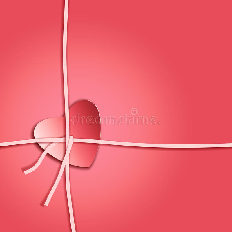 Romantic gift package with paper ribbon and paper look red heart stock photo