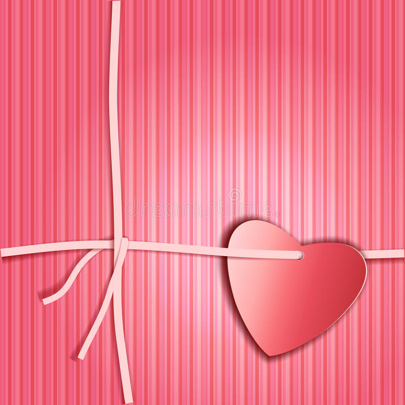 Romantic gift package with paper ribbon and paper look red heart royalty free stock photo