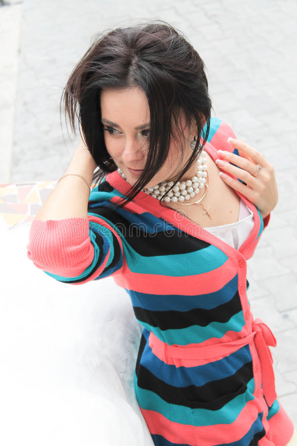 Download Romantic girl stock photo. Image of dress, cute, fall - 27430402