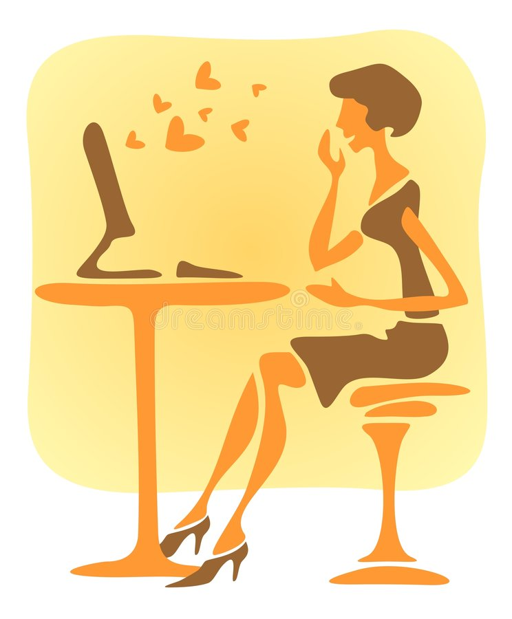 Romantic girl. The modern woman reads the love message on a computer stock illustration