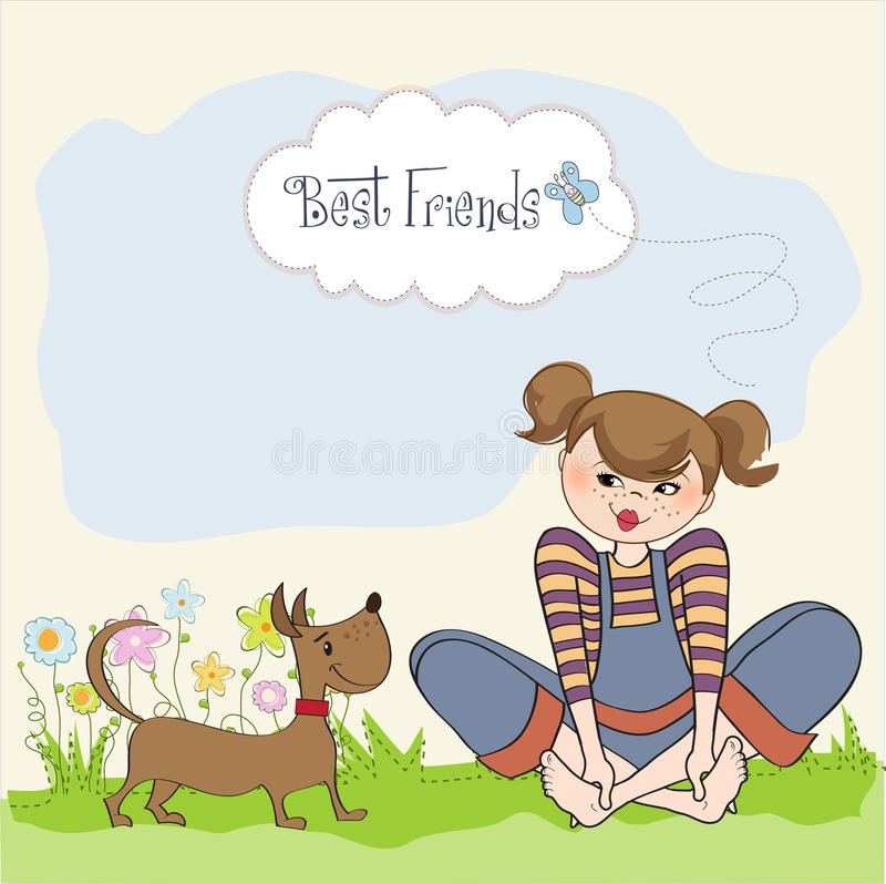 Download Romantic Girl Sitting Barefoot In The Grass With Her Cute Dog Stock Illustration - Illustration: 30628533