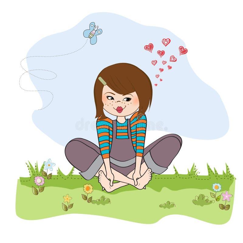 Download Romantic Girl Sitting Barefoot In The Grass Stock Illustration - Illustration: 30628525