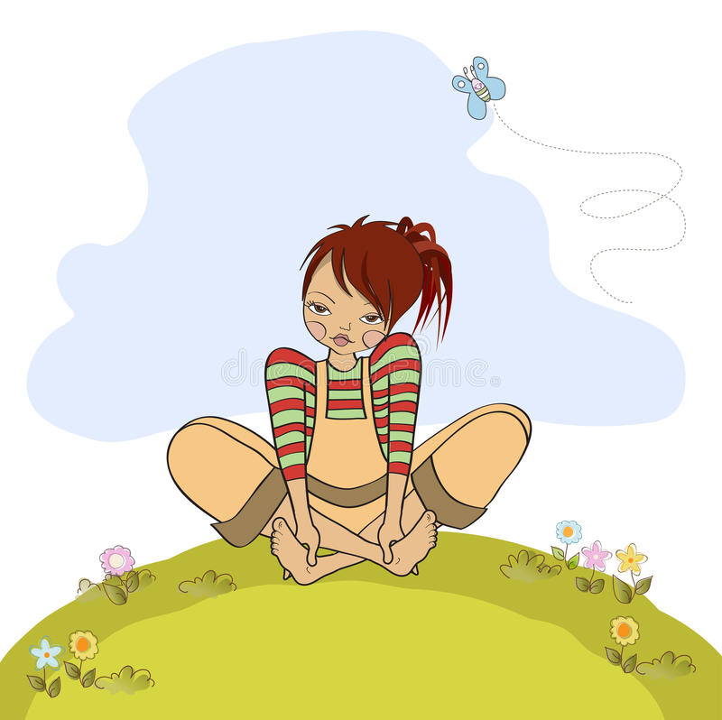 Romantic girl sitting barefoot in the grass royalty free illustration