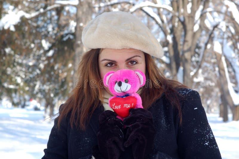 Romantic girl in winter stock photo