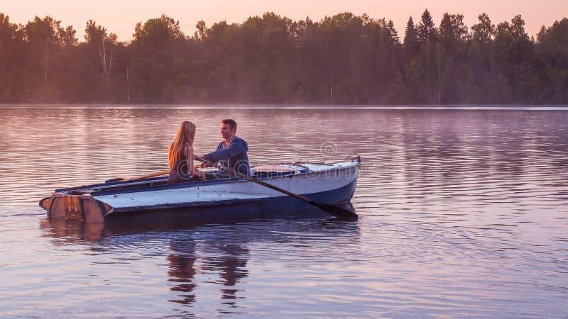 Romantic Golden Sunset River Lake Fog Loving Couple Small ...
