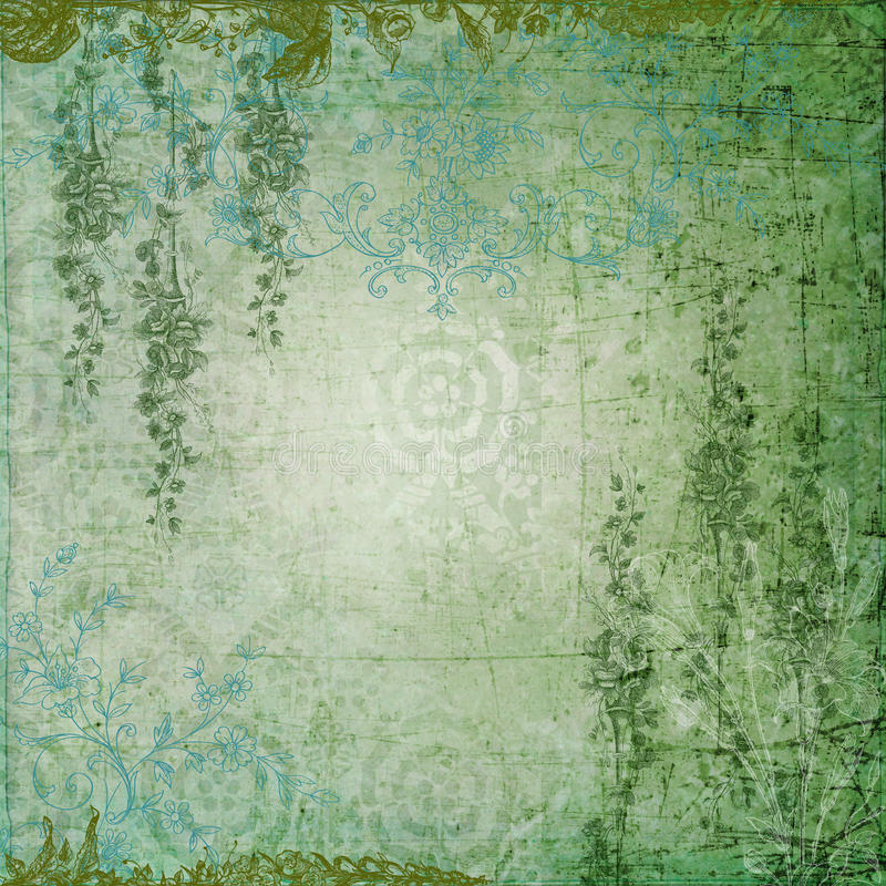 Romantic Green Garden. A multi-layered, rich textured background for scrapbooking and design royalty free stock photos