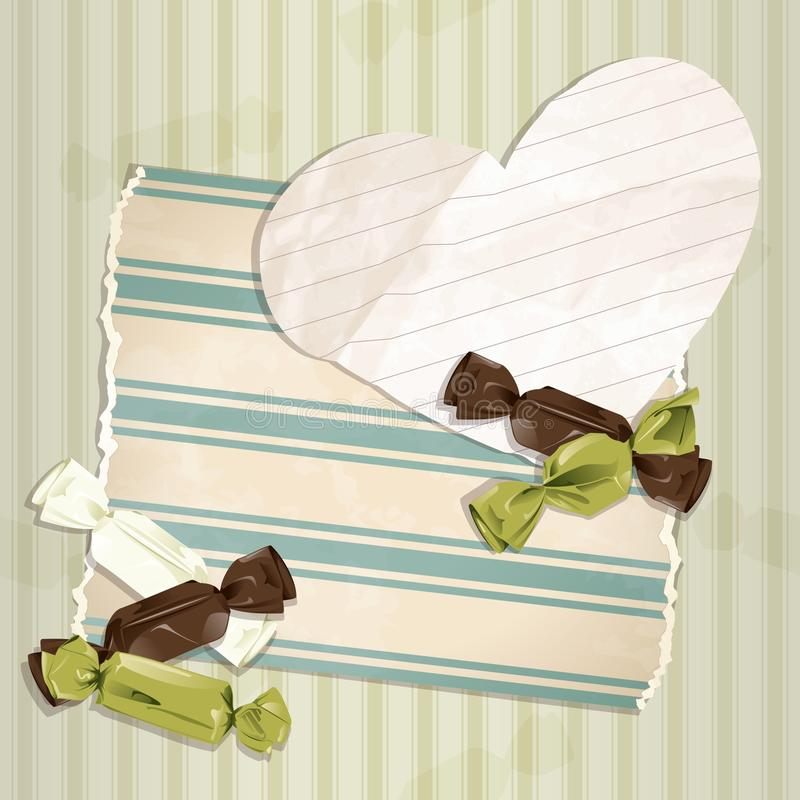 Romantic green vintage illustration with candies. Romantic vintage illustration with paper heart and candy. Graphics are grouped and in several layers for easy royalty free illustration
