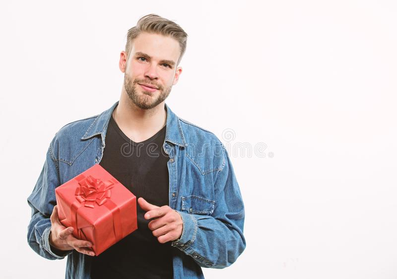 Romantic greeting. Boxing day. Happy birthday. Man share present. unshaven man with present box. Handsome macho man. Love date. Valentines day gift. Male stock photo