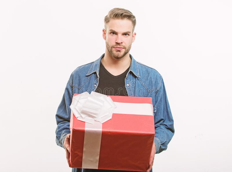 Romantic greeting. Boxing day. Happy birthday. Man share present. unshaven man with present box. Handsome macho man. Love date. Valentines day gift. Male royalty free stock photos