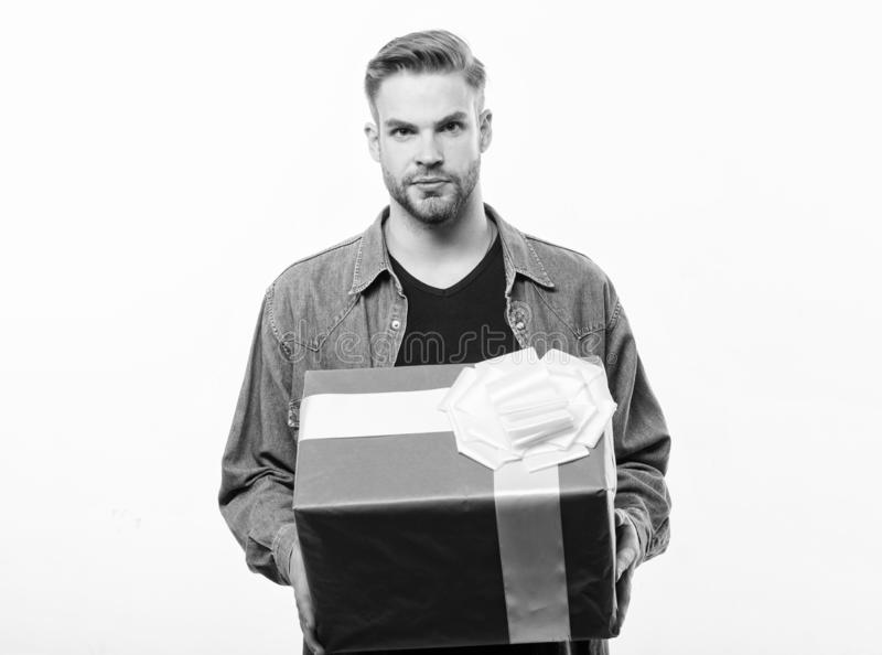 Romantic greeting. Boxing day. Happy birthday. Man share present. unshaven man with present box. Handsome macho man. Love date. Valentines day gift. Male stock photos
