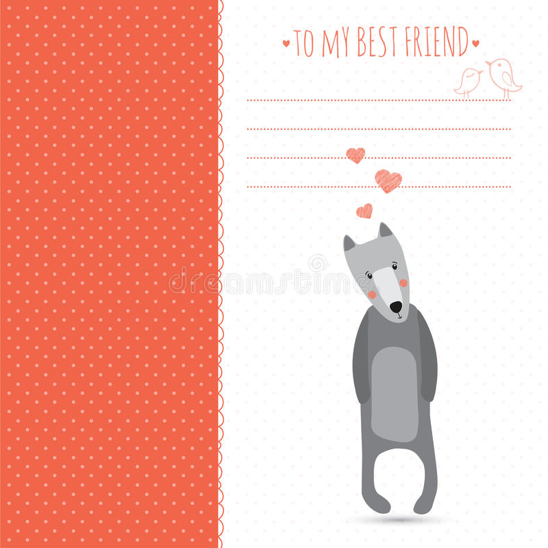 Romantic greeting card. With cute dogs and hearts royalty free illustration