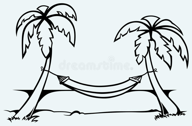 Romantic hammock between palm trees stock illustration
