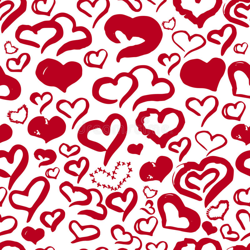 Romantic hand drawn red hearts cute seamless pattern for Valentine day on white background for banners, wrapping royalty free illustration