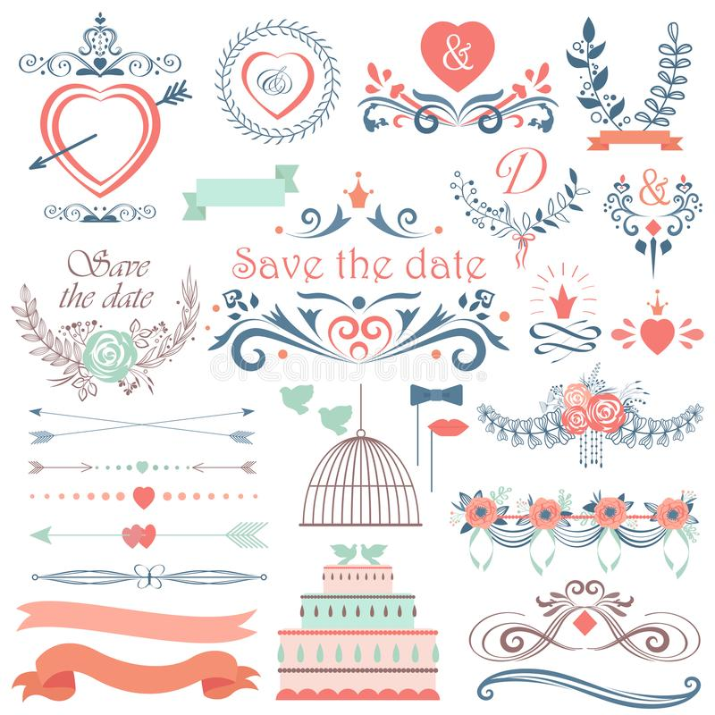 Romantic hand drawn vector wedding graphic set of cakes, arrows, flowers, laurel, wreaths. Wintage ribbons and labels. vector illustration