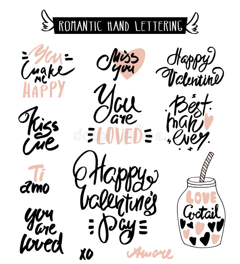 Romantic Hand Lettering. Love Quotes. Beautiful Hand Drawn